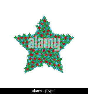 Holly star. hand drawn background, design element for Christmas and New Year greeting card or banner. Holly with - Stock Photo