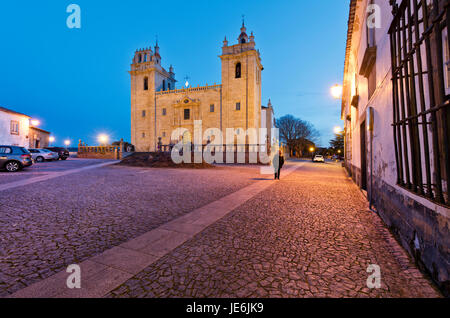 The cathedral of the medieval walled city of Miranda do Douro at twilight. Trás-os-Montes, Portugal - Stock Photo