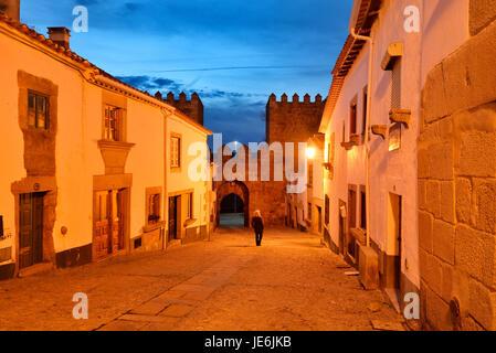 The medieval walled city of Miranda do Douro at twilight. Trás-os-Montes, Portugal - Stock Photo