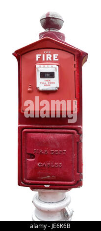 Isolated vintage red fire alarm box. - Stock Photo