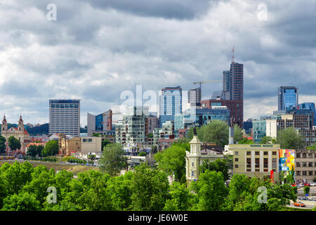 View from the Castle Hill to the modern part of the city Vilnius, Lithuania, Baltic States - Stock Photo