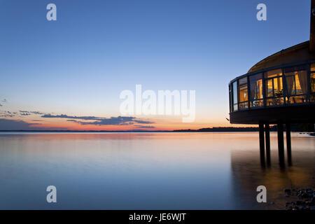 Germany, Bavaria, Upper Bavaria, foothills of the Alps, Chiemgau, Lake Chiem, cafe, evening tuning, - Stock Photo