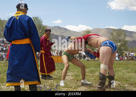 Mongolia, extreme west province, Bayan Olgii province, city of Bayan Ulgii, Naadam, national feast, wrestling match, - Stock Photo