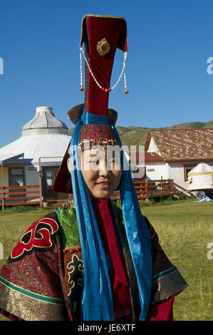 Mongolia, Central Asia, Ovorkhangai province, Orkhon valley, woman in traditional clothes, - Stock Photo