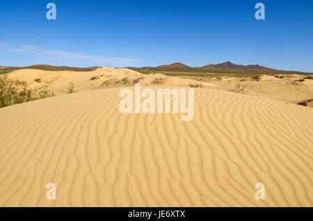 Mongolia, Central Asia, Ovorkhangai province, scenery, Sand dune, Mongolian steppe, - Stock Photo