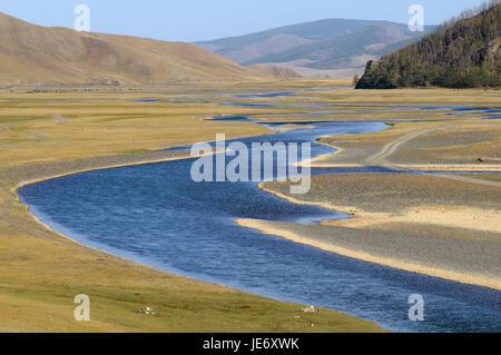 Mongolia, Central Asia, Ovorkhangai province, historical Orkhon valley, UNESCO world heritage, Orkhon flux, - Stock Photo