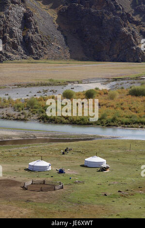 Mongolia, Central Asia, Ovorkhangai province, historical Orkhon valley, UNESCO world heritage, Orkhon flux, nomad, - Stock Photo