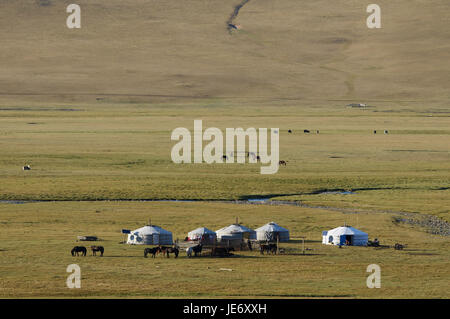 Mongolia, Central Asia, Arkhangai province, nomad, support, Jurten, - Stock Photo