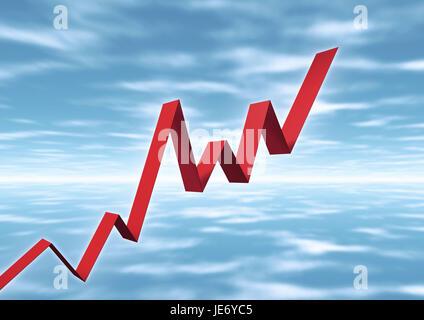 Stock market chart, bend, exchange rate, - Stock Photo