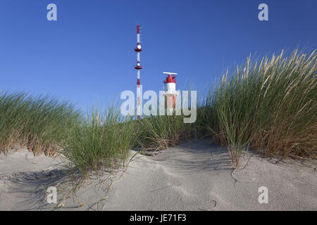 Germany, Lower Saxony, the East Frisians, Borkum, lighthouse in the dunes, - Stock Photo