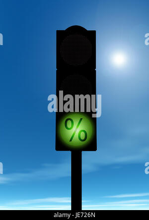 Green traffic light with percent sign, - Stock Photo