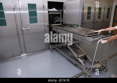 Hospital, pathological-anatomical department, Prosektur, Angestelle, detail, rolling carriage, chill specialty, - Stock Photo