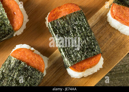 Homemade Healthy Musubi Rice and Meat Sandwich from Hawaii - Stock Photo
