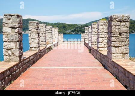 Raised terrace at the Benedictine monastery of St Mary on St Mary's island in Jezero sea lake on the island of Mljet - Stock Photo