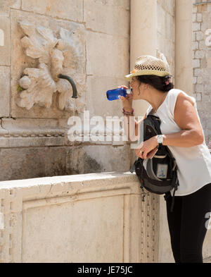 A tourist drinking from The Big Fountain of Onofrio beyond the Pile Gate in the Old City of Dubrovnik on the Dalmatian - Stock Photo