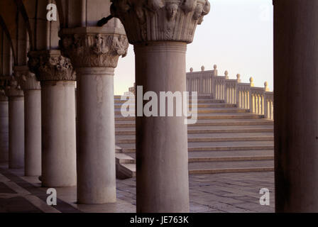 Venice, view from arcades of the Palazzo Ducale Ponte Tu Rialto, morning light, - Stock Photo