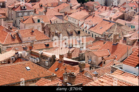 View from the massive defensive walls enclosing the beautiful red roofed medieval city of Dubrovnik on the Dalmation coast of Croatia