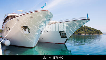 Boats at anchor in the small Adriatic port of Pomena on the island of Mlet Croatia - Stock Photo