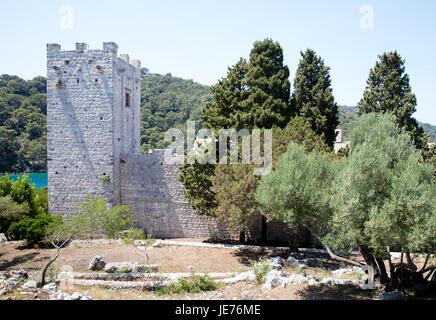 Benedictine monastery of St Mary on St Mary's island in Jezero sea lake on the island of Mljet in Croatia's Dalmatian - Stock Photo