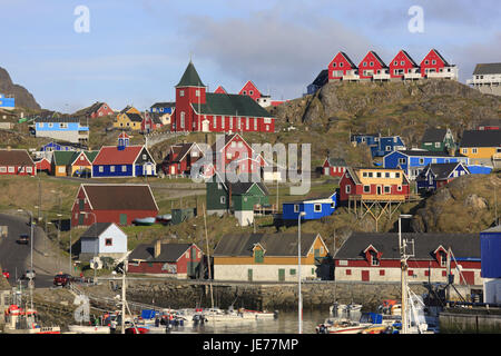 Greenland, Sisimiut, town view, harbour, Western Greenland, town, houses, timber houses, church, timber-frame construction - Stock Photo