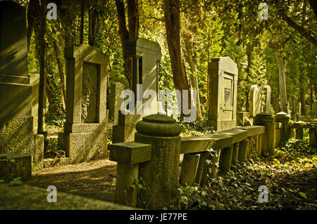 Germany, Hamburg, village Ohls, cemetery, tombs, in 1883, burial ground, recollection, cemetery, memory, gravestones, - Stock Photo