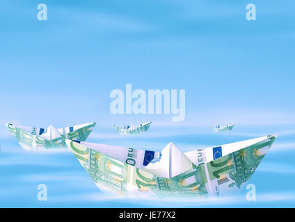 Paper ships from euro of bank notes, - Stock Photo