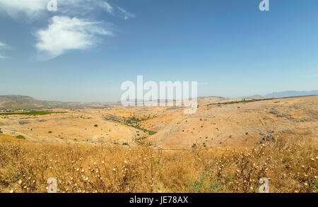 Wide angle view from Mount Arbel, Lower Galilee district, Israel, near Sea of Galilee and Tiberias. - Stock Photo