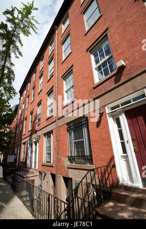 red brick townhouses with basement flats greenwich village New York City USA - Stock Photo