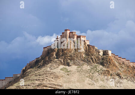 The Dzong, old castle, in Gyantse, Tibet, Asia, - Stock Photo
