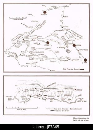 Map illustrating Battle of Aisne in 1914 - Stock Photo