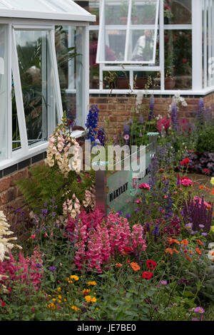 Hartley Botanic trade stand with greenhouses & flowering plants on display - RHS Chatsworth Flower Show, Chatsworth - Stock Photo