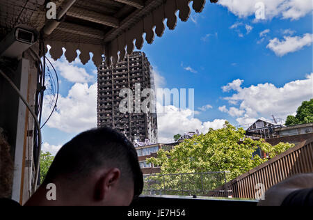 The 24-story Grenfell Tower in North Kensington, London destroyed by fire on 14th June 2017.  The death toll officially - Stock Photo