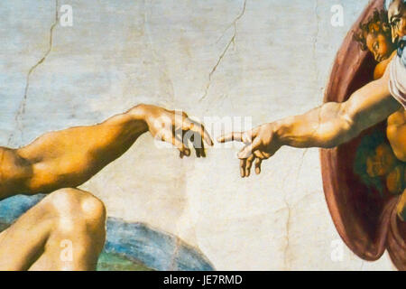 New York, USA. 22nd June, 2017. Detail of 'The Creation of Adam' one of the near life-size reproductions of Michelangelo's - Stock Photo