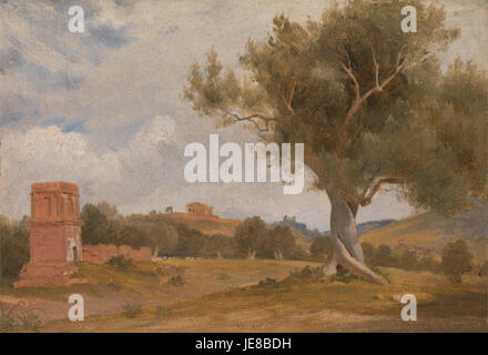 Charles Lock Eastlake - A View at Girgenti in Sicily with the Temple of Concord and Juno - - Stock Photo
