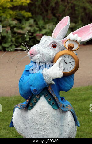 A Sculpture Of The White Rabbit In Alice In Wonderland A