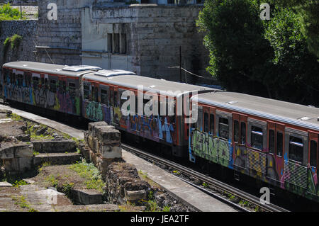 Athens metro and greek ruins in Monastiraki district, Athens (Greece) - Stock Photo