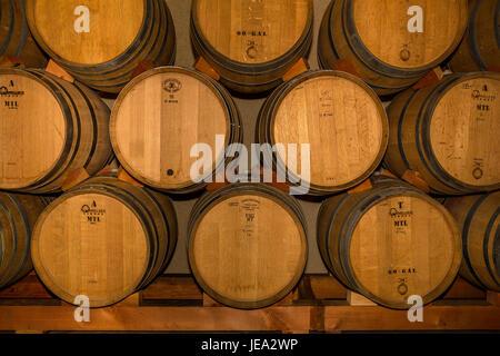 French oak wine barrels, wine fermentation, fermentation area, Failla Winery, Saint Helena, Napa Valley, Napa County, - Stock Photo