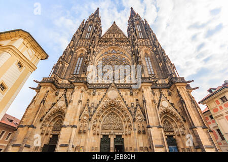 St. Vitus Cathedral in Prague, Czech Republic. The cathedral is the seat of the Archbishop of Prague and is the - Stock Photo