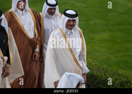 His Highness the Emir Sheikh Tamim Bin Hamad Al Thani leaving the Qatar Racing and Equestrian Club arena after the - Stock Photo