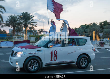 18th December 2012.  Doha.  Qatar.  The 18th December is when Qatar National Day is celebrated.  Nissan Patrol 4X4 - Stock Photo