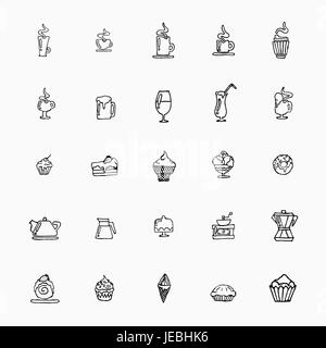 set of hand-drawn icons on food, cups of coffee, alcohol, desserts, ice cream and kitchen appliances. Vector illustration - Stock Photo