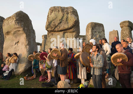 Stonehenge, ancient prehistoric site, place of worship and celebration at the time of Summer Solstice, Wiltshire, - Stock Photo