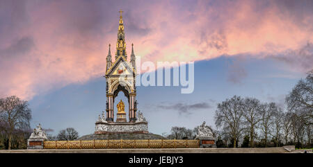 Albert memorial statue with Sunset and clouds, lots of detail and atmosphere. Taken from the  Royal Albert Hall - Stock Photo