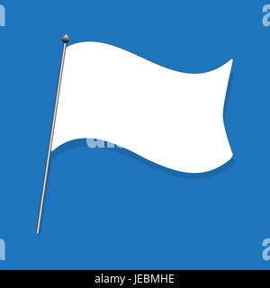white flag, capitulate illustration on blue background. : idea wave the white flag. - Stock Photo