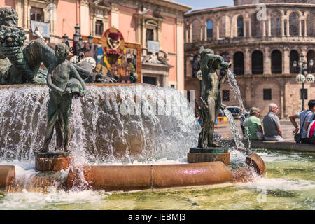 Figure from Turia Fountain on Plaza de la Virgen, Valencia, Spain - Stock Photo