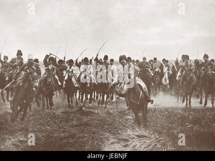 Russian Cossacks charge, WW 1, 1914 - Stock Photo
