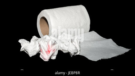 tissue paper or toilet paper on black background. - Stock Photo