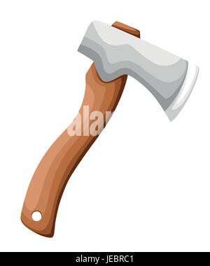 Wooden axe isolated on white background. Element for woodworking or lumberjack emblem or icon. Web site page and - Stock Photo