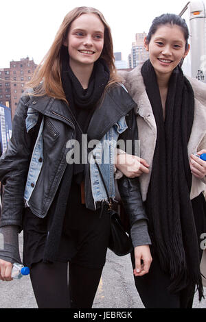 Street Style Fashion models Nimue Smit and Ming Xi - Stock Photo