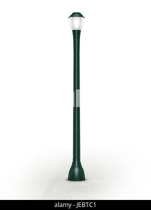 green lamppost illustration on white background eye level view - Stock Photo